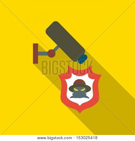Camera protection from thief icon. Flat illustration of camera protection from thief vector icon for web
