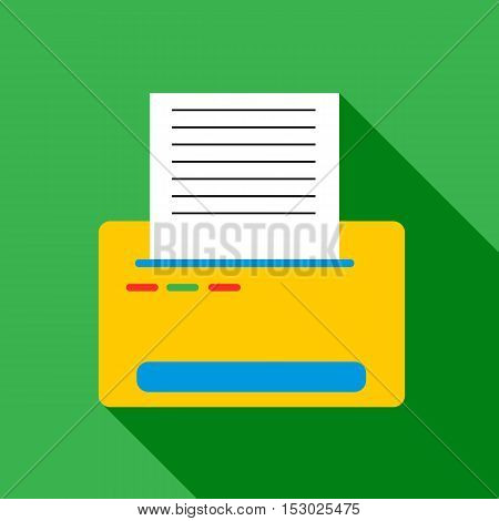 Printer with paper icon. Flat illustration of printer with paper vector icon for