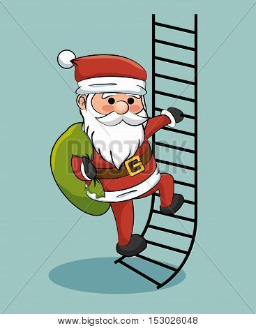 santa claus climbing stairs with gift bag vector illustration eps 10