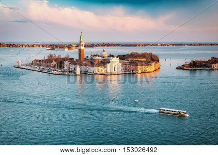 Aerial view at San Giorgio Maggiore island, Venice, Italy