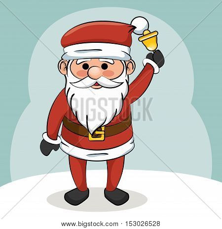 santa claus with bell christmas design vector illustration eps 10