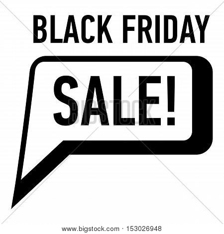 Bubble speech sale black friday icon. Simple illustration of bubble speech sale black friday vector icon for web