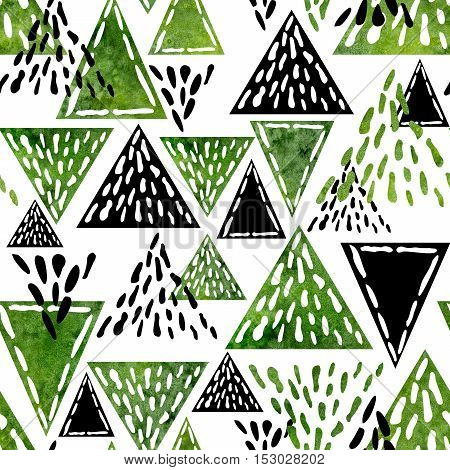 Watercolor Hand Drawn Green Triangles Seamless Abstract Pattern