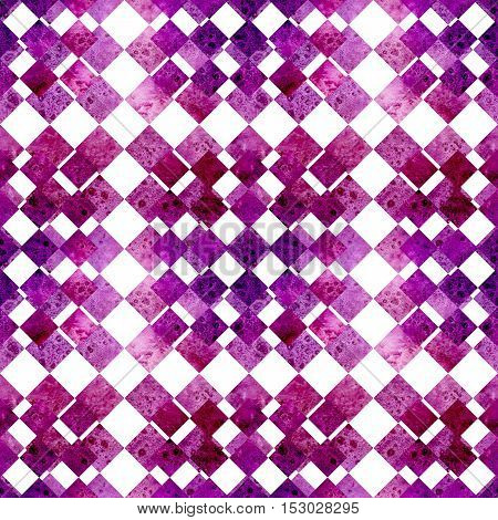 Mosaic Seamless Pattern with Watercolor Magenta and Purple Squares