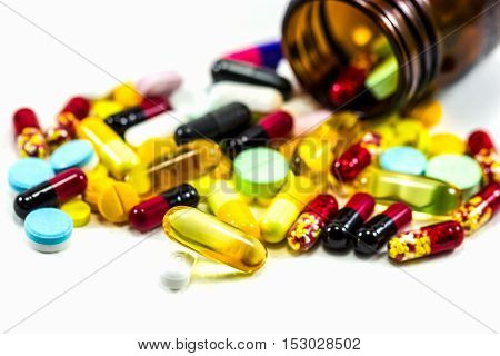 Diferent Tablets Pills Capsule Heap Mix