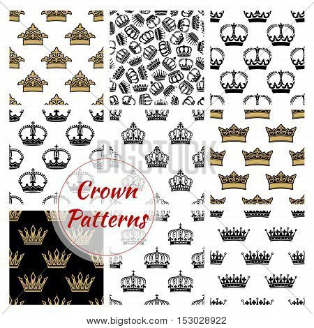 Vector pattern of royal crowns. Seamless background with golden, royal and heraldic, imperial, vintage, retro, monarch, regal crown icons