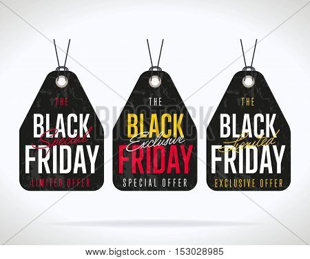 Black Friday sale black sticker vector isolated. Discount or special offer price sign on Black Friday. Sale banner. Promo offer on black friday. Special offer sale sticker. Discount tag on Black Friday. Special offer black friday banner. Black friday sale