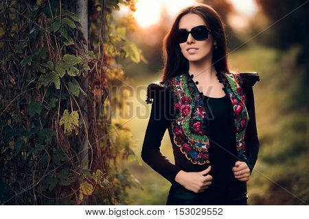 Fashion Woman With Glasses and Floral Vest