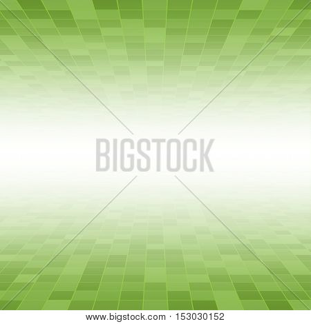 Mosaic Tile Square Vector Background. Perspective Halftone Fone. Green Background. Vector illustration for Web Design.