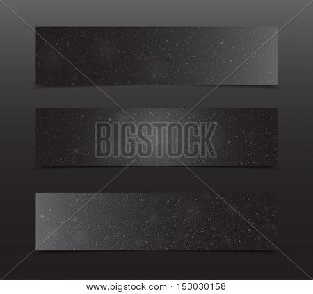 Horizontal set of paper Black rectangle banners template for business design, infographics. Vector illustration eps10. Snow, blizzard, winter.