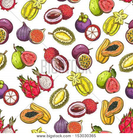 Exotic and tropical fruits pattern. Vector pattern of fresh and juicy ripe fruit icons dragon fruit, mangosteen, papaya, carambola, figs, guava, durian, lychee, passion fruit