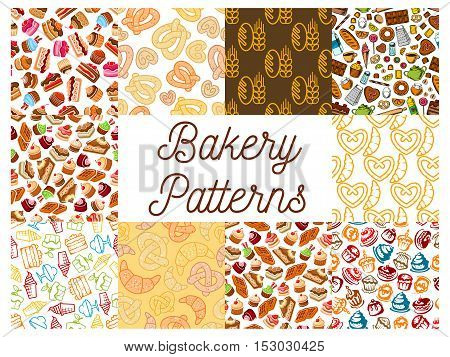 Bakery and patisserie desserts patterns. Bread, croissant, bread, baguette and muffin, bun and loaf, pretzel and bagel, pie and flour, donut and cake, cupcake, croissant, ice cream. Vector kitchen decoration pattern