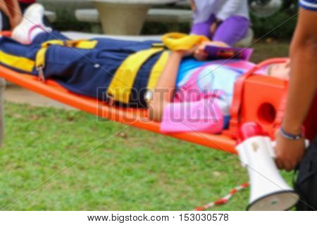 blur focus physician readiness stretcher medical equipment casualty assist a patient in emergency rescue situations.