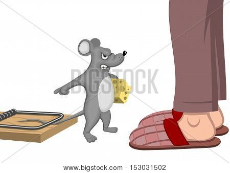 Trapped mouse - Vector illustration - EPS .