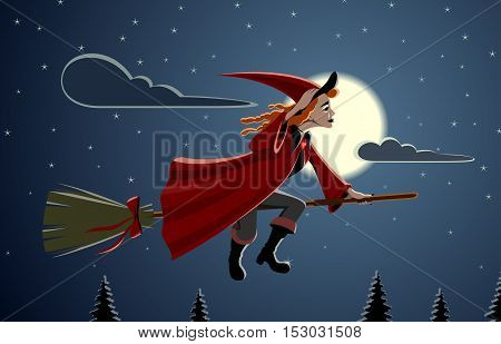 Witch - Vector illustration - EPS .