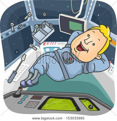 Illustration of a Man Dressed as an Astronaut Resting Peacefully in a Spacecraft
