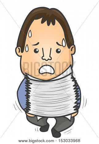 Illustration of a Struggling Man Sweating While Carrying a Heavy Stack of Paper