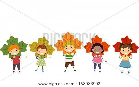 Stickman Illustration of Preschool Kids Wearing Maple Leaves of Different Colors as Headdresses