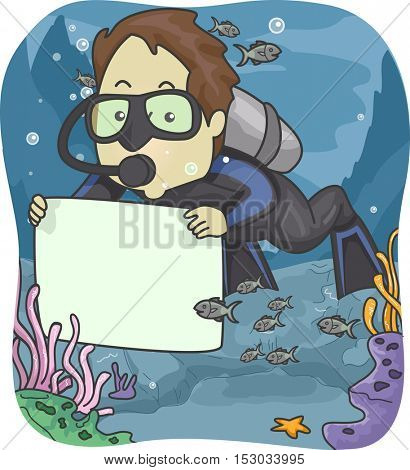 Illustration of a Man in Scuba Diving Gear Holding a Blank Board Underwater
