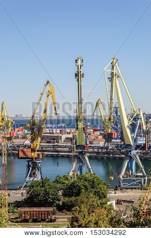 Big cranes in Commercial Sea Port of Odessa Ukraine