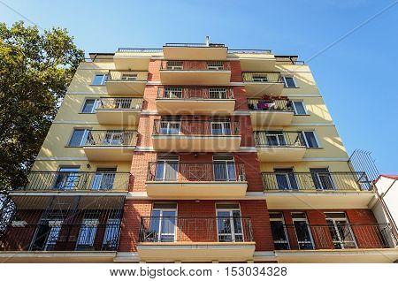 New residential building in Odessa Ukraine. View from below.