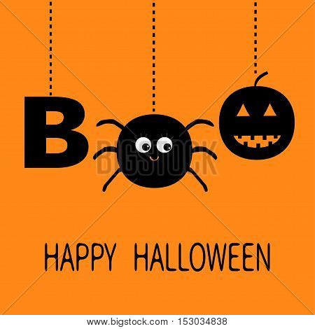 Hanging word BOO text with smiling sad black pumpkin spider insect silhouette. Dash line thread. Happy Halloween. Greeting card. Flat design. Orange baby background. Vector illustration