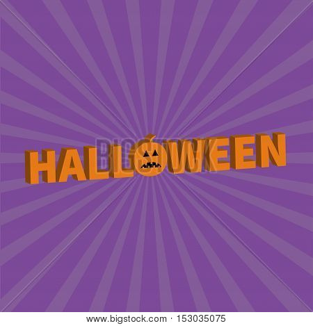 Halloween Lettering 3D text banner with sad orange pumpkin silhouette. Greeting card. Flat design. Violet baby starburst sunburst background. Vector illustration