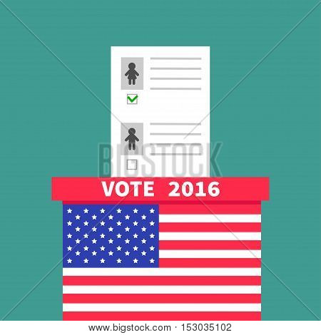 American flag Ballot Voting box with paper blank bulletin Man Woman concept. Polling station. President election day Vote 2016. Green background Flat design Card Vector illustration