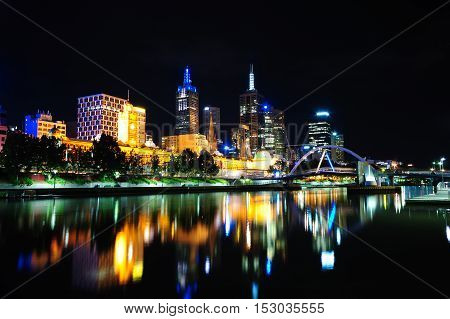 Beautiful Scene of Melbourne city at night