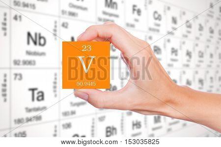 Vanadium symbol handheld in front of the periodic table