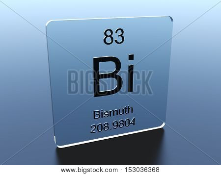 Bismuth symbol on a glass square 3D render