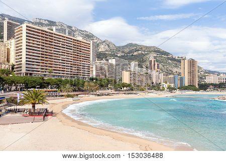 Beautiful Monte Carlo beach, Monaco. Azur coast French Riviera
