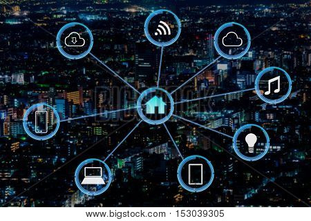 Internet of things futuristic background showing domotic connections