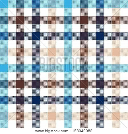 Blue beige check seamless fabric texture. Vector illustration.