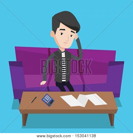 Unhappy caucasian man calculating home bills. Man sitting on sofa and accounting costs and mortgage for paying home bills. Man analyzing home bills. Vector flat design illustration. Square layout.