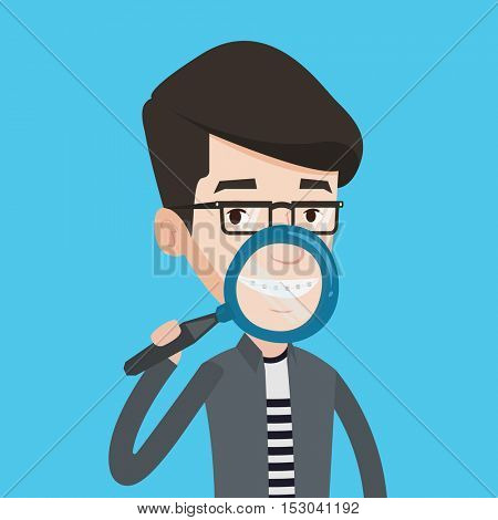 Smiling young man holding a magnifying glass in front of his teeth. Caucasian man examining his teeth with magnifier. Concept of teeth examining. Vector flat design illustration. Square layout.