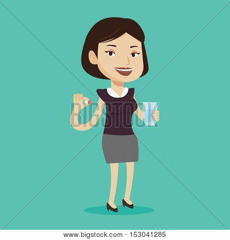 Young caucasian woman taking pills. Woman holding pills and glass of water in hands. Happy smiling woman taking vitamins. Healthy lifestyle concept. Vector flat design illustration. Square layout.