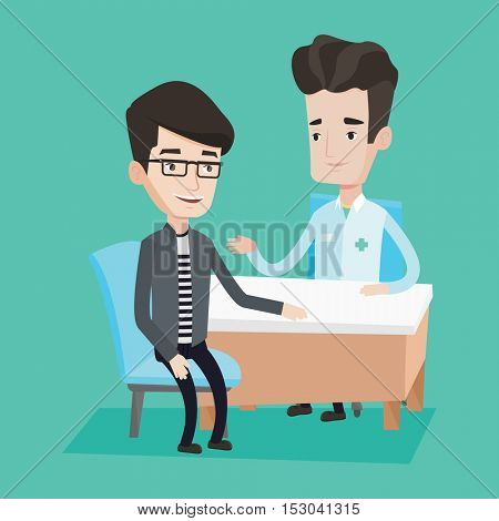 Caucasian doctor consulting male patient in office. Doctor talking to smiling male patient. Doctor communicating with patient about his state of health. Vector flat design illustration. Square layout.