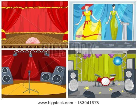 Hand drawn vector cartoon set of backgrounds. Cartoon of theater interior. Colourful cartoon of background of clothing store. Cartoon of boutique showcase. Background of nightclub interior.
