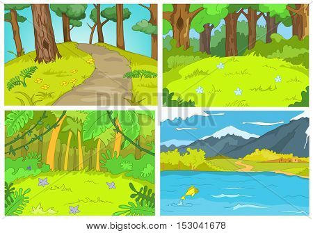 Hand drawn vector cartoon set of summer landscapes. Colourful cartoons of summer backgrounds. Background of summer forest with footpath. Background of mountain lake.