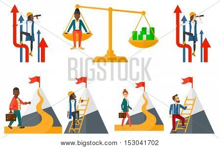 Businessman climbing on the mountain to achieve a flag on the top. Business achievement concept. Businessman achieving success in business. Set of vector illustrations isolated on white background.