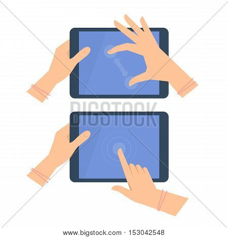 Various gestures of female hand with tablet screen. Vector flat illustration of woman's hands portable PC pad with interactive multitouch display. Vector design element for infographic presentation