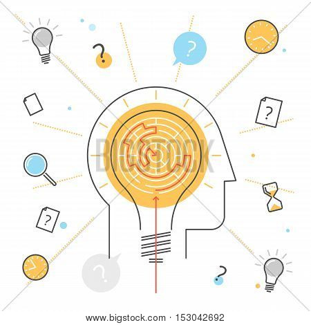 Process of thinking and finding solution. Contour flat line concept illustration of head with bulb and maze inside. Searching for a way the problem decision. Outline vector infographic design elements