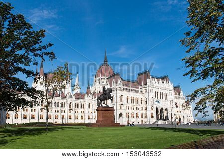 Beautiful view of Budapest's Parliament. Parliament Building on the Danube River in Budapest. Hungary Budapest. View from garden to Parlament.