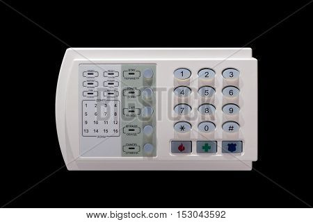 Remote control of the alarm security system with buttons and indicators of operating modes isolated on a black background