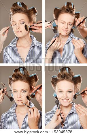 Four images of a young woman in curler in her hair and one eye with make-upshe is expressing different emotions. With multiple hands applying make up.