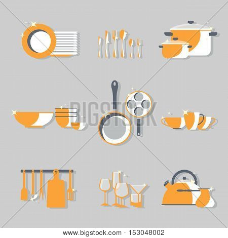 Vector crockery set. Kitchen dish flat design icons. Graphic tableware elements. Cooking equipment illustration. Chef collection isolated. Cutlery sign background
