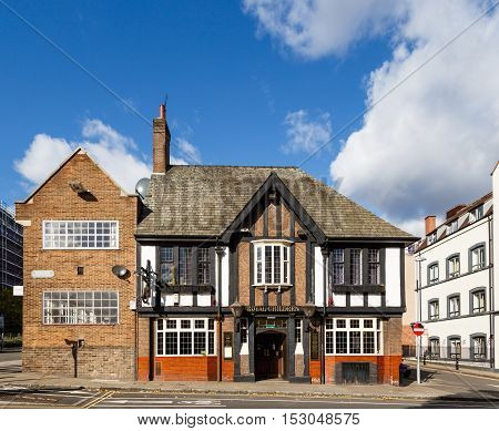 NOTTINGHAM ENGLAND - OCTOBER 19: The Royal Children Inn on Castle Gate. In Nottingham England. On 19th October 2016.