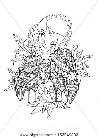 Flamingo bird coloring book for adults vector illustration. Anti-stress coloring for adult. Tattoo stencil. Zentangle style. Black and white lines. Lace pattern