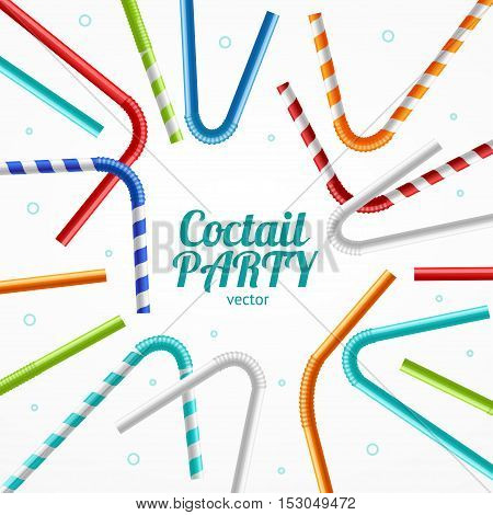 Coctail Party Flyer Banner or Card for Menu Cafes and Clubs. Vector illustration